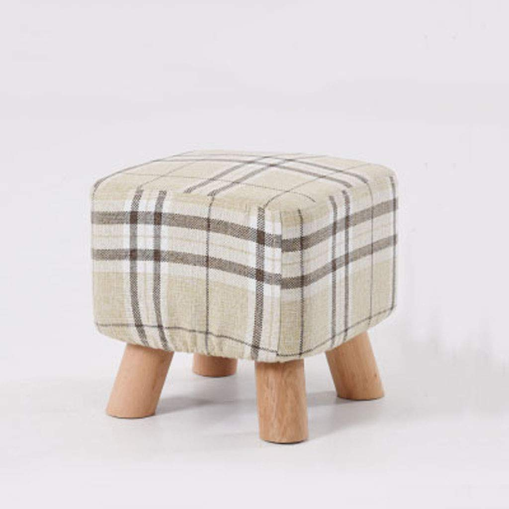 A Solid Wood stool - Household Coffee Table Fabric Sofa Change shoes stool, Strong Load Capacity, Soft, 28  28  25cm