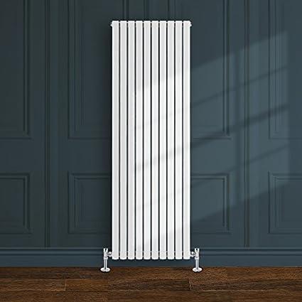 Simple Home | 1800 x 590 mm Radiador diseño Borvo brillante blanco horizontal panel doble oval