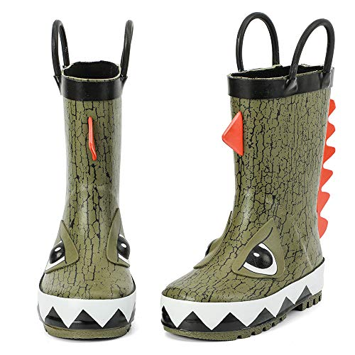 ALEADER Kids Waterproof Rubber Rain Boots for Girls, Boys & Toddlers with Fun Prints & Handles Olive/Dinosaur 12 M US Little Kid