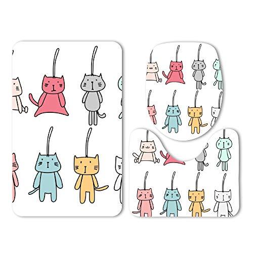 DKISEE 3 Piece Bathroom Mat Set Cute Cat 02 Washable Bath Rug Set Non Slip Carpet Bath Mat -