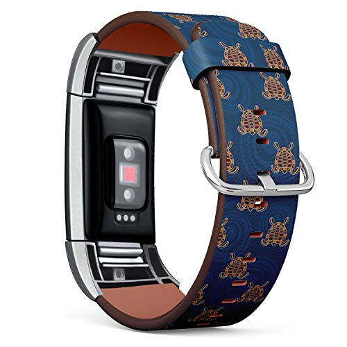 Compatible with Fitbit Charge 2 - Leather Band Bracelet Strap Wristband Replacement with Adapters - Turtles Circles