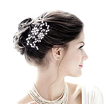Bride Head Piece Birthday Party Pearl White Crystal Leaves Hairpin U Shape