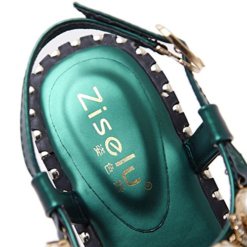 LIVY 2017 sandalias de verano sandalias de la palabra de T clip de hebilla de las sandalias de suela blanda salvaje de lujo perla del embutido Green