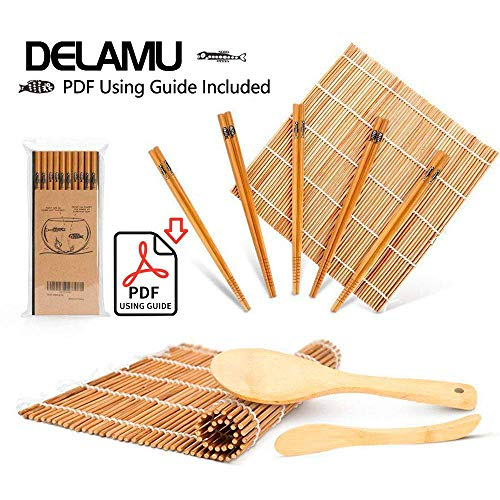 Sushi Making Kit, Bamboo Sushi Mat, Including 2 Sushi Rolling Mats, 5 Pairs of Chopsticks, 1 Paddle, 1 Spreader, 1 Beginner Guide PDF, Roll On, Beginner Sushi Kit ()