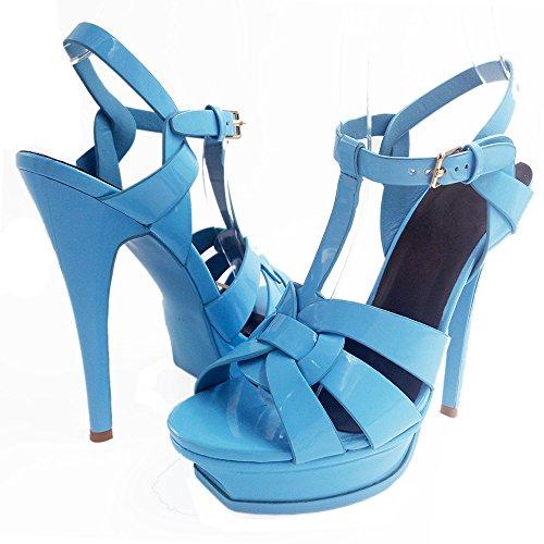 TAOFFEN Mujer Elegante Tacon De Aguja Sandalias Tacon Alto Correa En T Punta Abierta Zapatos De Hebilla Azul Claro
