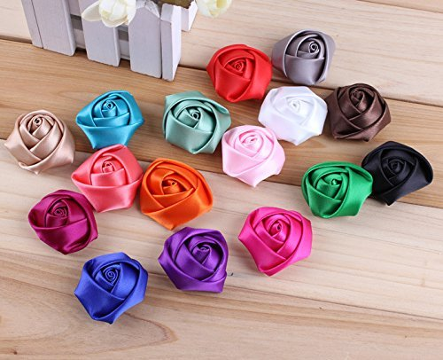 Pack of 20PCS Mixed Colors Flat-bottomed Beautiful Bohemian Style DIY Handmade Decorative Chiffon Flowers with Pearl and Rhinestone for Hair Clips,Wedding Flowers(20Pcs) Rose (Chiffon Flat)