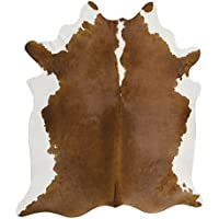 RODEO Brown and White Cow Skin Hereford Cowhide Rug leather cow skin size 6x6ft Brown with White Belly