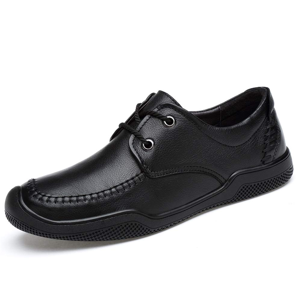 Noir Classique d'affaires Casual Chaussures pour Hommes Doux Confortable en Cuir Véritable Robe De Mariée Mocassins Anti-Slip Plat en Dentelle Up Collision Evitement Toe Round,Chaussures de Cricket 43 EU