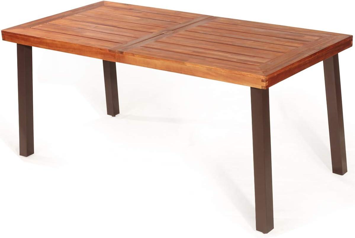 Giantex Patio Dining Table with Umbrella Hole, Outdoor Picnic Table for Backyard, Garden, Lawn, Farmhouse, Acacia Wood Rectangular Table with Metal Legs, Rustic Brown