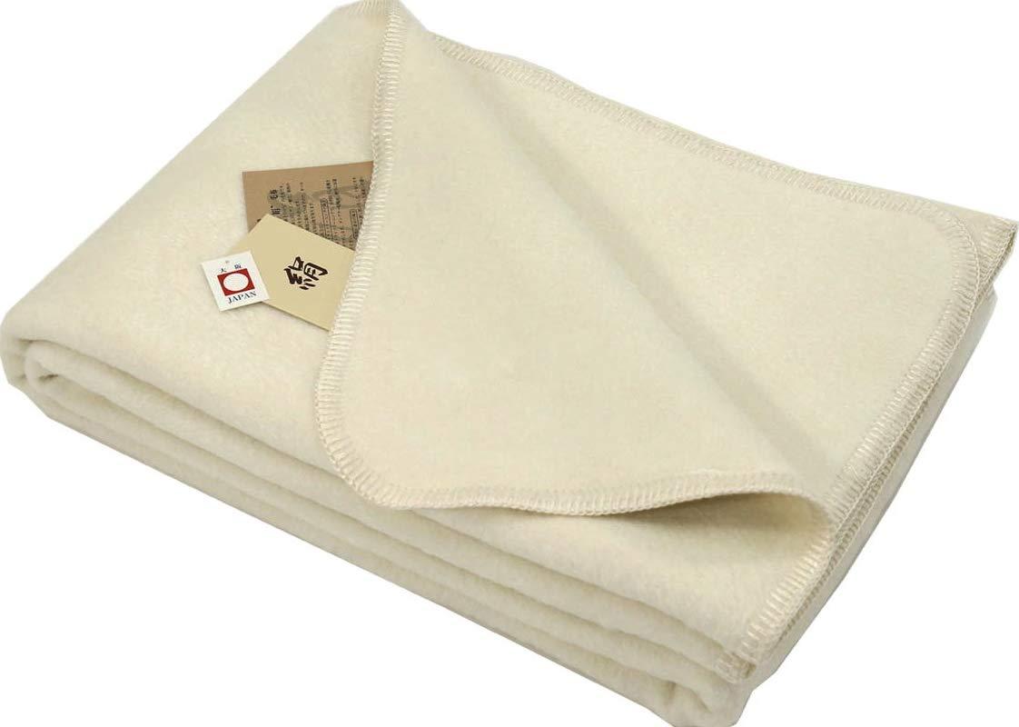 国産 シルク 100 % 毛布 (毛羽部) シングル サイズ ヘリも 絹 無染色 オフホワイト 公式三井毛織 国産 B01K48LOPW