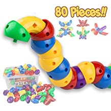 Caterpillar Building Blocks 80 pcs Set - Stem Toys for Boys & Girls - Educational Toy for 3 4 5 6 Year Olds Kids - So Much Fun - Infinite Combinations - Improving Imagination - Advanced Version
