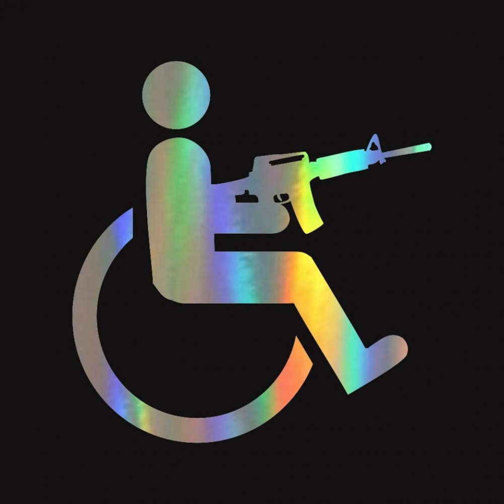 Nicoole Etiqueta Engomada del Coche para Discapacitados Pistola para Silla De Ruedas Vinilo Creativo Pegatina De Modelado De Coche 15 Cm * 16 Cm Pegatina para Coche