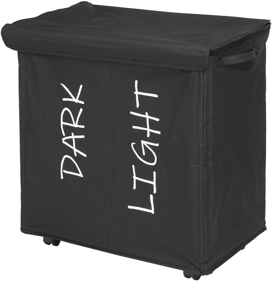 mDesign Divided Laundry Hamper Basket with Wheels and Removable Lid, Built-In Handles - Portable and Foldable for Compact Storage - Dark/Light Print, Fabric Handles - Black