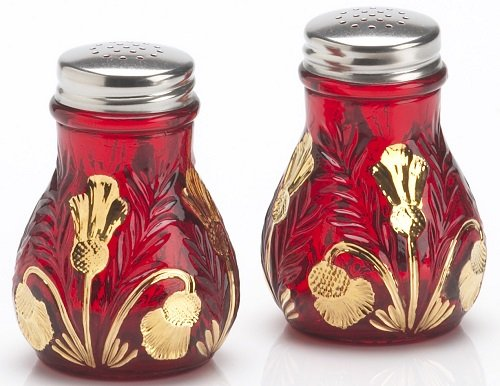 - Salt & Pepper Shaker Set - Inverted Thistle Pattern - Red Handpainted - Mosser Glass - American Made