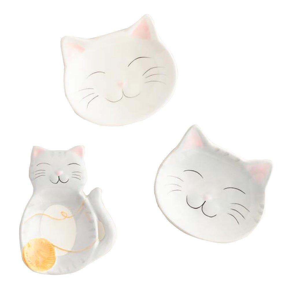 Gray Ceramic Cat Tea Bag Rest Set of 3, Feline Design, Cat Inspired