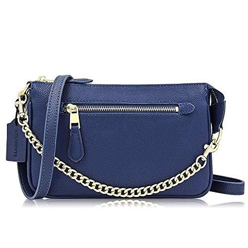Clutch Bags Pocket Handbag Blue Zipper Leather Superw Women Crossbody Simple Genuine Leisure Stxqq0v8w