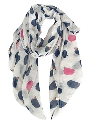 Pink Hedgehog - GERINLY Animal Shawl Wrap: Cute Hedgehogs Printed Scarves For Women (White)