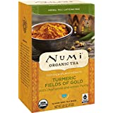 Numi Organic Turmeric Tea, Fields of Gold, Blended w/ Chamomile & Lemon Myrtle, 12 Count non-GMO Tea Bags (Packaging May Vary), 3 Count