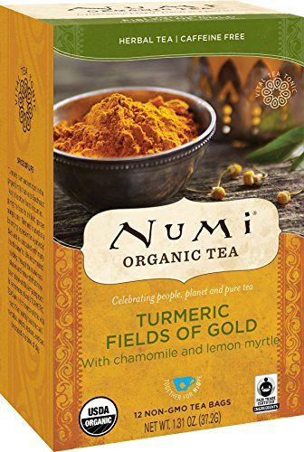 Numi Organic Tea Fields of Gold, 12 Count Box of Tea Bags (Pack of 3) Turmeric Tea (Packaging May Vary)