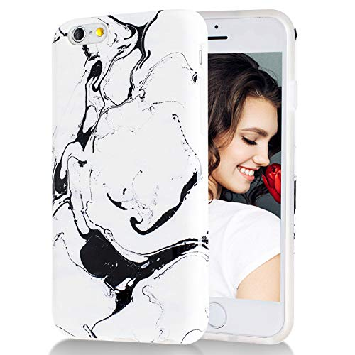 iPhone 6 Case,iPhone 6s Case Black White Ink Marble,Slim Soft Flexible TPU Marble Pattern Cover for Apple iPhone 6/6s