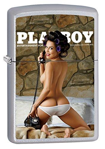 Zippo Lighter: Playboy Cover, June 2013 - Satin Chrome - Zippo Lighters Playboy Cover