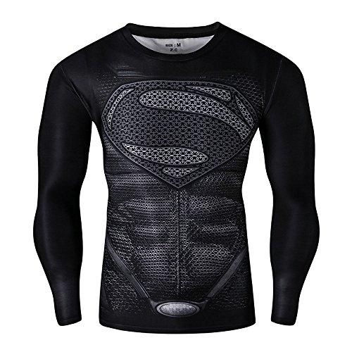 CT28 3D Druck Schwarz Fest Kompression Langarm-Shirt Grundschicht für Sport Fashion (XL, Superman Black B Long)