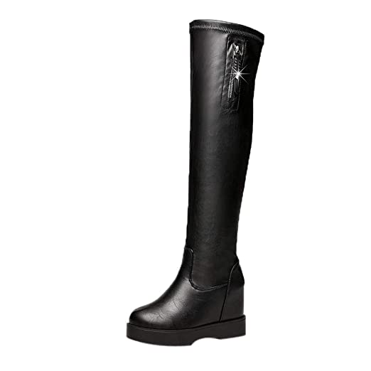32c444aa3033e Amazon.com: Women Over The Knee Boots, Ladys Anshinto Wedge Plat ...