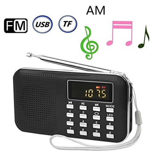 GES NET Portable Pocket Radio Shortwave Transistor LCD Radio AM/FM Stereo with MP3 Music Player Support Micro SD/TF USB Disk Speaker,Handheld Radio (Black)