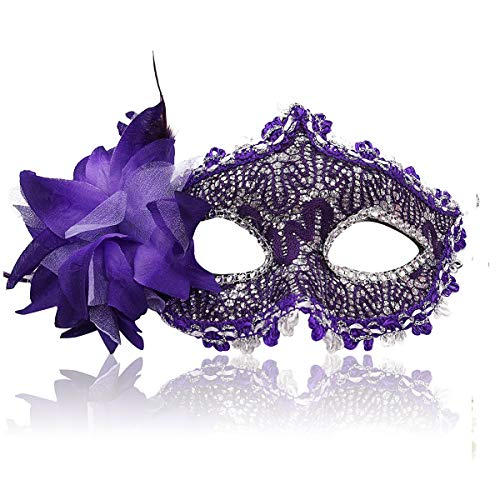 Masquerade Mask for Women Venetian Masks Christmas Women Flower Half-face Masks Eye mask Cosplay Lace mask (Purple)