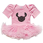 So Sydney Baby Toddler Girl Minnie Mouse Pinks Tutu Chiffon Skirt Onesie Romper (S (3-6 Months), Pink)