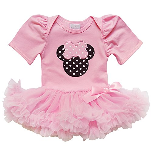 [So Sydney Baby Toddler Girl Minnie Mouse Pinks Tutu Chiffon Skirt Onesie Romper (XL (18-24 Months),] (Minnie Mouse Outfit For Babies)