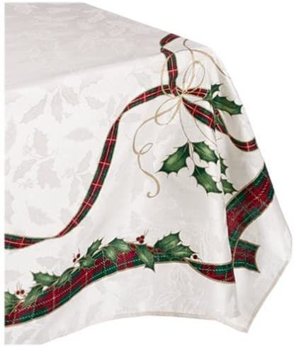 Christmas Ivory lace Holly Berry design Tablecloth 60 x 83