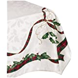 Lenox Holiday Nouveau Tablecloth, 60 by-120-Inch Oblong/Rectangle, Ivory