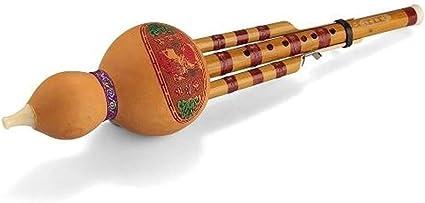 Hulusi hecho a mano chino de bambú calabaza cucurbitáceas flauta instrumento musical étnico con la caja fina for principiantes y amantes de la música (Color : Yellow): Amazon.es: Instrumentos musicales