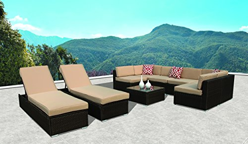 PATIOROMA Outdoor Furniture Sectional Sofa Set (9-Piece Set) All-Weather Brown Wicker with Beige Seat Cushions & Chaise Lounge Chair| Patio, Backyard, Pool|Aluminum Frame