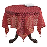 SARO LIFESTYLE 1893 Flocked Dots Square Table Topper, 54-Inch, Burgundy