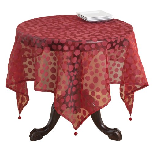SARO LIFESTYLE 1893 Flocked Dots Square Table Topper, 54-Inch, Burgundy by SARO LIFESTYLE