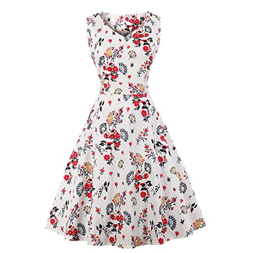 jh00147 Dress Sleeveless Boatneck Party Women Bewish Polka Floral Dot Floral Prom Red Print Dress Swing Vintage Tea nRzgpaz