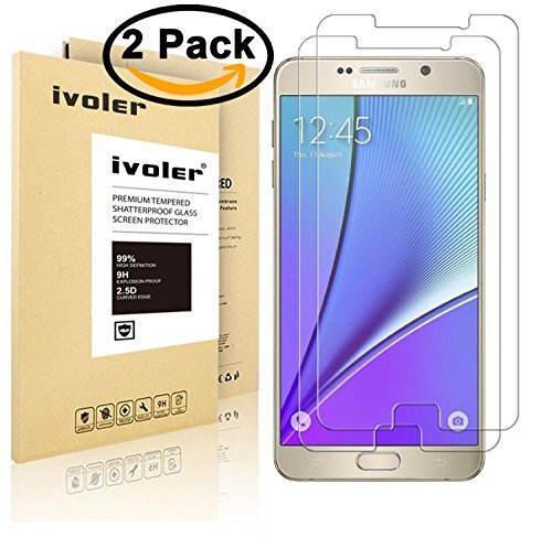 iVoler 0.2mm Ultra Thin 9H Hardness 2.5D Round Edge Tempered Glass Screen Protector for Samsung Galaxy Note 5 (Samsung Blaze Screen Protector)