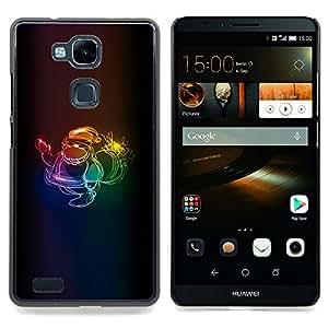BullDog Case - FOR Huawei Nexus 6P - Art Gray Minimalistic Blue - Dise???¡¯???¡Ào para el caso de la cubierta de pl???¡¯????stico Chicas