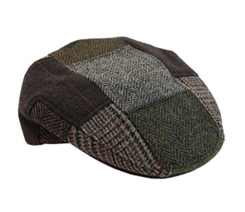 Mucros Irish Hats for Men Men's Patchwork Cap 100% Wool Green & Brown Made in Ireland Large