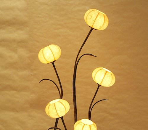 Mulberry Rice Paper Ball Handmade Flower Pot Design Art Shade Yellow Round Globe Lantern Brown Asian Oriental Decorative Bedroom Floral Accent Unusual Uplight Table Floor Lamp