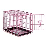 Dog Crate Raspberry Color Lightweight Folding Wire Latching Training Travel Cage