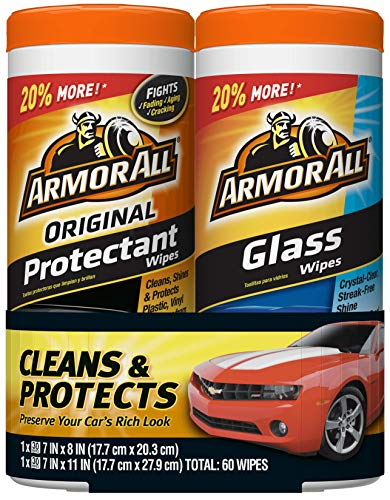 Armor All 18780 Glass and Protectant Wipes, 30 count each - 2 Pack Wipes