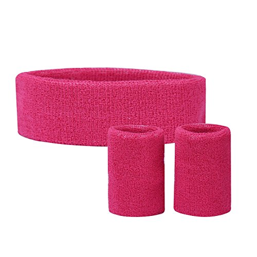 [HDE Solid Color Sports Sweatband Set Thick Stretchy Yoga Fitness Outdoor Activity Gym Attire Headband with Dual Wristbands] (1970s Tennis Costume)