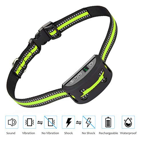 iWings Shock Collar for Dogs Upgraded Smart Detection Module with Triple Anti Barking Modes Collar Beep Vibration Shock for Small, Medium, Large Dogs Breeds,Waterproof with Green Strap