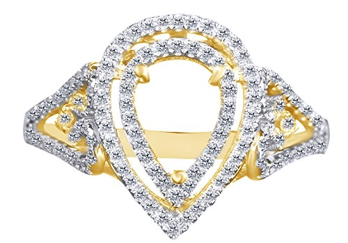 AFFY 0.4 Carat White Natural Diamond 8x6mm Pear Shape Semi Mount Engagement Ring 14k Solid Yellow Gold