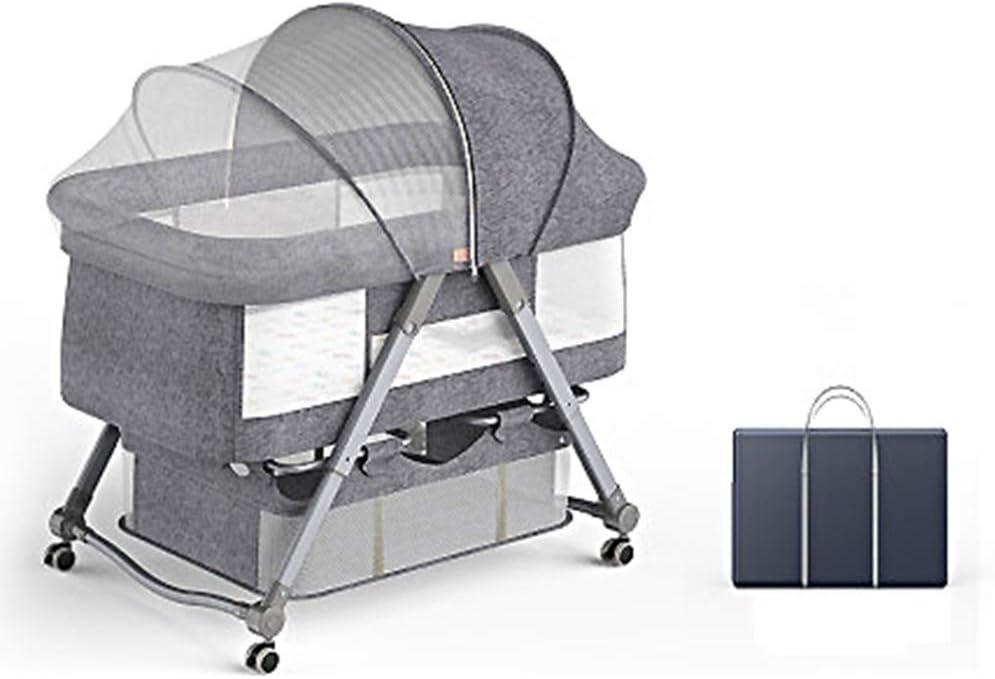 WZXX Hamaca para bebé recién Nacido, Columpio Plegable para Cuna de bebé Espacio de Metal Grueso Aumentado Aumente la Cuna eléctrica Inteligente Mosquitera con Bolsa de Almacenamiento adiciona,Gris