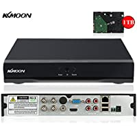 KKmoon 4CH Channel Full 1080N/720P AHD DVR HVR NVR HDMI P2P Cloud Network Onvif Digital Video Recorder + 1TB Hard Disk support Plug and Play Free CMS Browser View Motion Detection Email Alarm PTZ