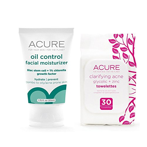 Acure Oil Control Moisturizer and Clarifying Acne Towelettes Bundle with Lilac Stem Cells, Willow Bark Extract and Argan Oil, 1.75 fl. oz. and 30 Count Pack each (Lilac Bundles)
